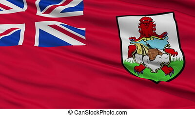 Close Up Waving National Flag of Bermuda - Bermuda Flag...