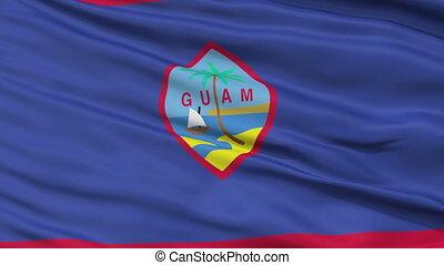 Close Up Waving National Flag of Guam - Guam Flag Close Up...