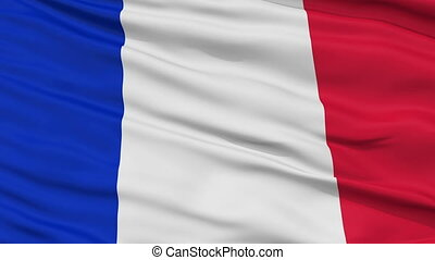 Close Up Waving National Flag of France