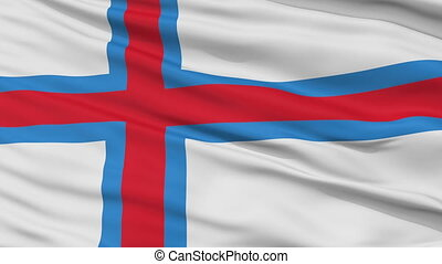 Close Up Waving National Flag of Faroe Islands - Faroe...