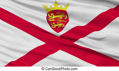 Close Up Waving National Flag of Jersey - Jersey Flag Close...