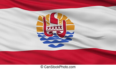 Close Up Waving National Flag of French Polynesia