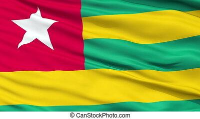 Close Up Waving National Flag of Togo - Togo Flag Close Up...