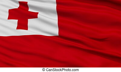 Close Up Waving National Flag of Tonga - Tonga Flag Close Up...