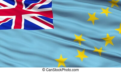 Close Up Waving National Flag of Tuvalu - Tuvalu Flag Close...