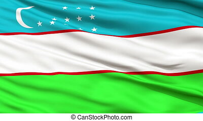 Close Up Waving National Flag of Uzbekistan - Uzbekistan...