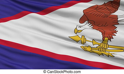 Close Up Waving National Flag of American Samoa - American...