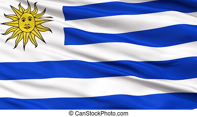 Close Up Waving National Flag of Uruguay - Uruguay Flag...