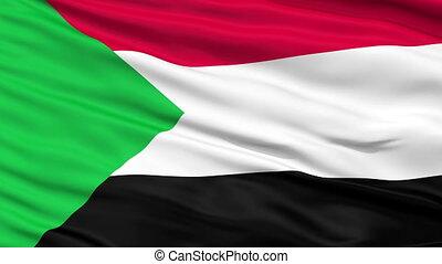 Close Up Waving National Flag of Sudan