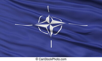 Close Up Waving Flag of Nato - Nato Flag Close Up Realistic...
