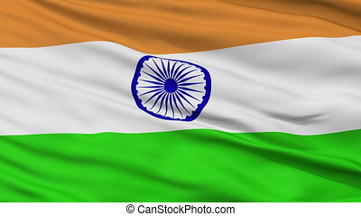 Close Up Waving National Flag of India - India Flag Close Up...