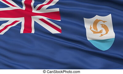 Close Up Waving National Flag of Anguilla - Anguilla Flag...
