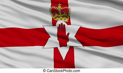 Close Up Waving National Flag of Northern Ireland - Northern...