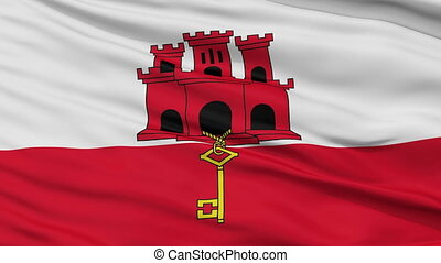 Close Up Waving National Flag of Gibraltar - Gibraltar Flag...