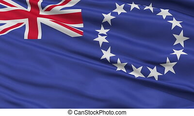 Close Up Waving National Flag of Cook Islands - Cook Islands...