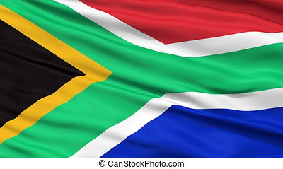 Close Up Waving National Flag of South Africa - South Africa...