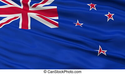 Close Up Waving National Flag of New Zealand