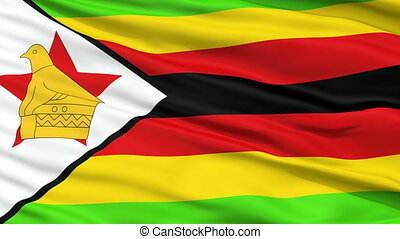 Close Up Waving National Flag of Zimbabwe - Zimbabwe Flag...