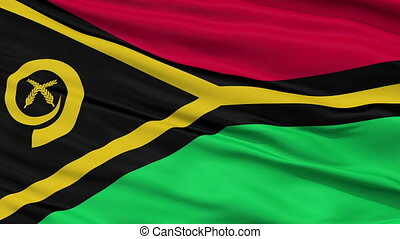 Close Up Waving National Flag of Vanuatu - Vanuatu Flag...