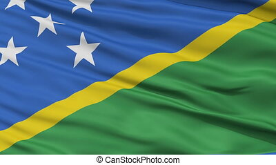 Close Up Waving National Flag of Solomon Islands - Solomon...