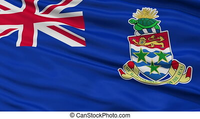 Close Up Waving National Flag of Cayman Islands - Cayman...