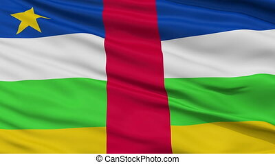 Close Up Waving National Flag of Central Africa - Central...