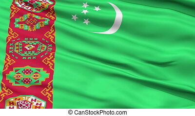 Close Up Waving National Flag of Turkmenistan - Turkmenistan...
