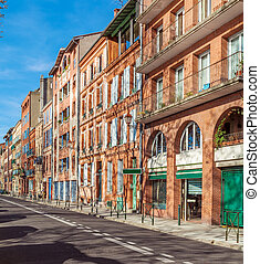 Vintage Houses from Red Bricks, Toulouse - Typical street...
