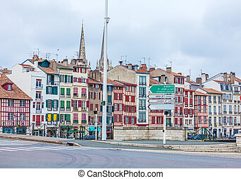 Old Houses along Nive River, Bayonne - Old buildings along...