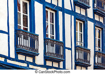 Colorful Shutters of Typical Old Homes, Bayonne, France