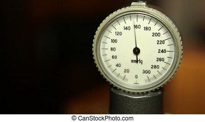 Close-up of monitor of tonometer and pressure measurement