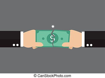 Hands tearing apart a banknote. Business concept