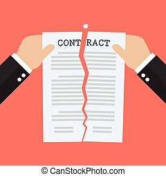 Hands tearing apart contract document paper