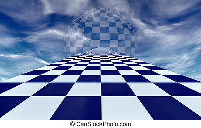 Mirage chess metaphor - Chess road in the blue clouds...