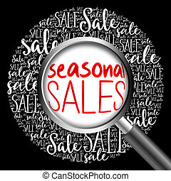 SEASONAL SALES word cloud with magnifying glass, business...