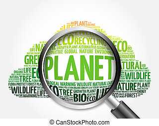 Planet word cloud with magnifying glass, ecology concept