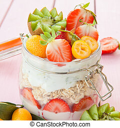 Porridge with fruits and yogurt - Over night oats, porridge...