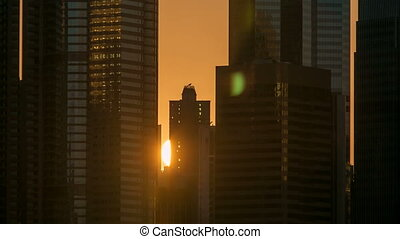 Sunset and silhouettes of buildings timelapse. Hong Kong