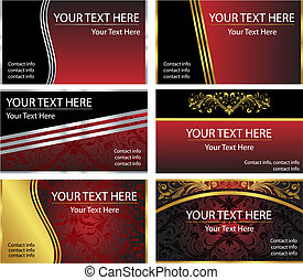 Six Vector Business Card Templates - A set of six corporate,...