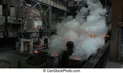 The vapor above the workpiece after the spill metal and...
