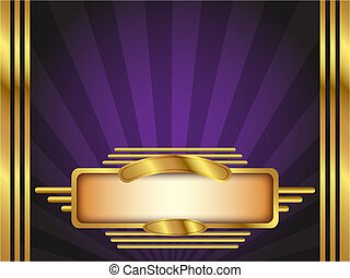 Gold and Purple Art Deco Style Vector Background