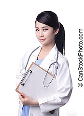 Smile woman doctor - Smiling medical doctor woman with...