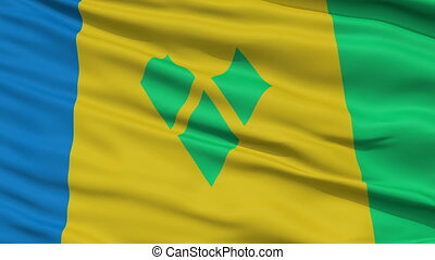 Close Up Waving National Flag of Saint Vincent and the...