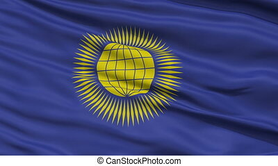 Close Up Waving National Flag of United Commonwealth -...