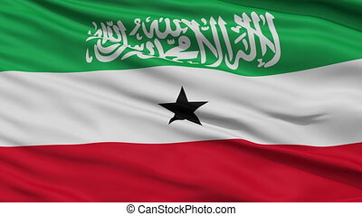 Close Up Waving National Flag of SomaliLand (Somalia) -...