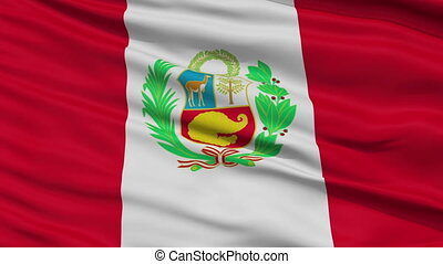 Close Up Waving National Flag of Peru - Peru Flag Close Up...
