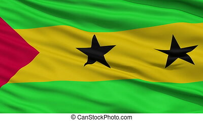 Close Up Waving National Flag of Tome and Principe - Tome...