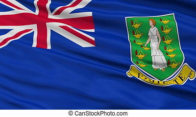 Close Up Waving National Flag of British Virgin Islands -...