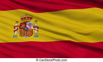 Close Up Waving National Flag of Spain - Spain Flag Close Up...