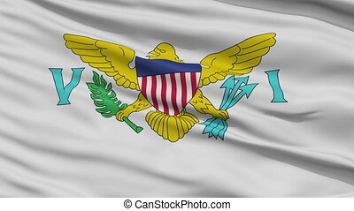 Close Up Waving National Flag of the United States Virgin...
